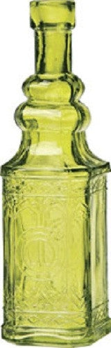 Vintage Glass Bottle - Square - Green