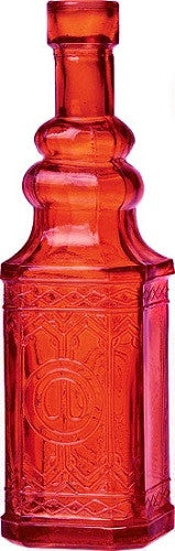 Vintage Glass Bottle - Square - Orange