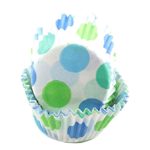 blue and green polka dot cupcake liners