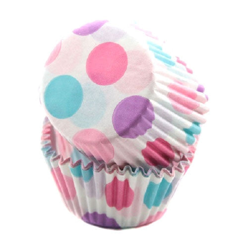pink blue and lilac polka dot cupcake liners