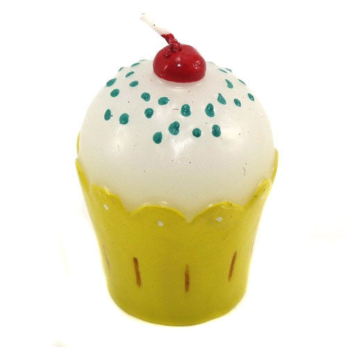 Frosted Cupcake Candle - Yellow