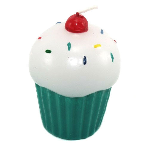 Frosted Cupcake Candle - Green