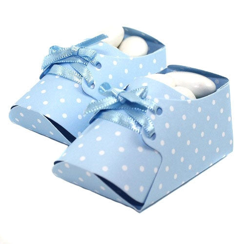 Lovely baby Booties - favor boxes - Baby Blue