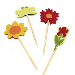 Flowers and Frog Cupcake Toppers