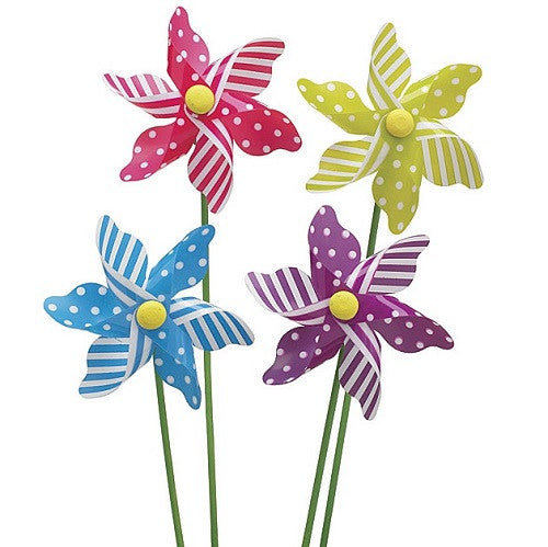 Gingham and stripe pinwheel picks in sturdy plastic with green wooden sticks yellow blue purple fuchsia