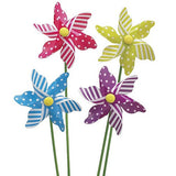 Picks - Pinwheel (Set of 4) - Gingham and stripe pinwheel picks in sturdy plastic with green wooden sticks yellow blue purple fuchsia