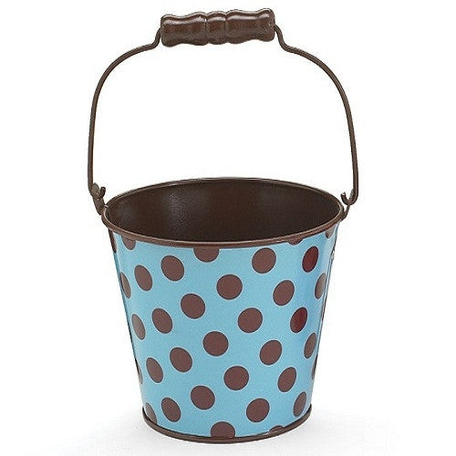 Pail Tin Polka Dots Blue & Brown