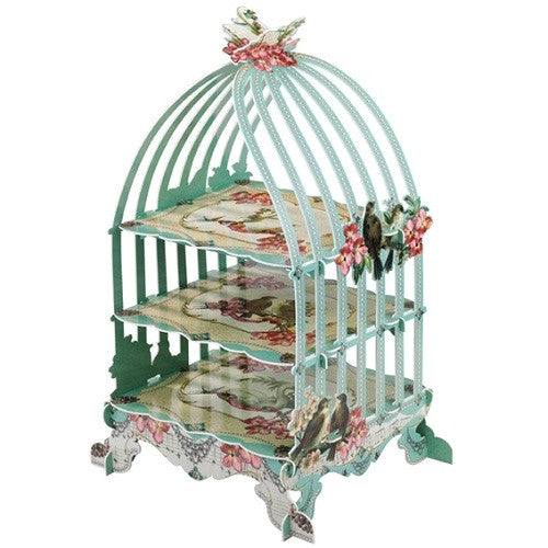 Aqua blue Tea Party Cupcake Stand with a Birdcage design featuring floral and bird illustrations