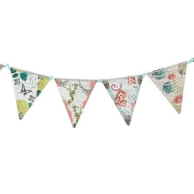 Tea Party flag banner with flower illustrations