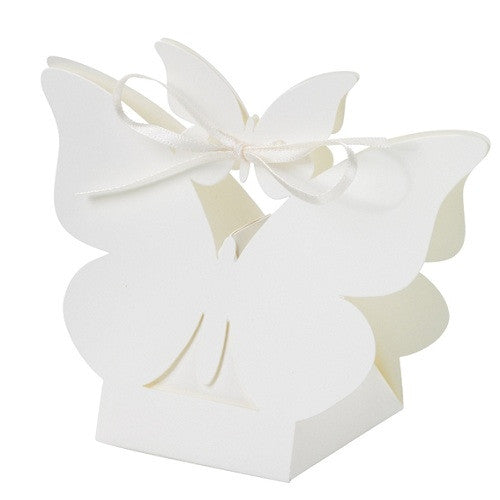 White Butterflies Favor Boxes
