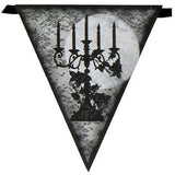 Banner - Breathless - Halloween spooky party flag banner with black candelabra illustrations