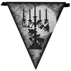 Halloween spooky party flag banner with black candelabra illustrations
