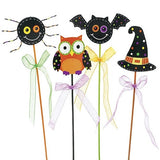 Picks -  Halloween (Set of 4) - Picks -  Halloween Owls Bats Witches hat