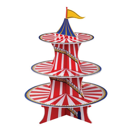Red ans White carnival  and circus cupcake party stand, most colorful way to display your delicious cupcakes.