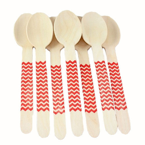 Chevron Wooden Spoons - Red - Full Size