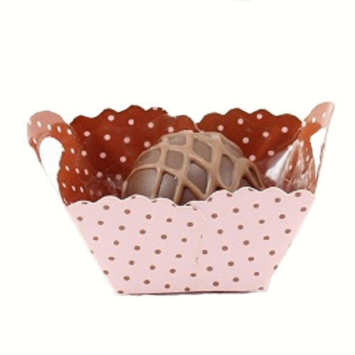 Petite Baskets - Polka Dot Pink & Brown-Small