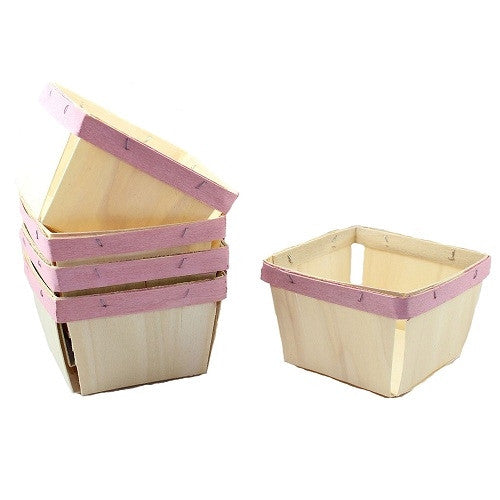 Pint sized wooden baskets with Baby Pink painted band.