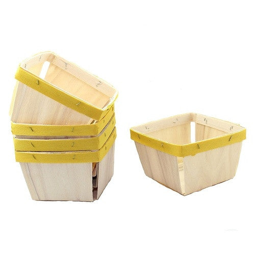 Pint sized wooden baskets with Yellow painted band