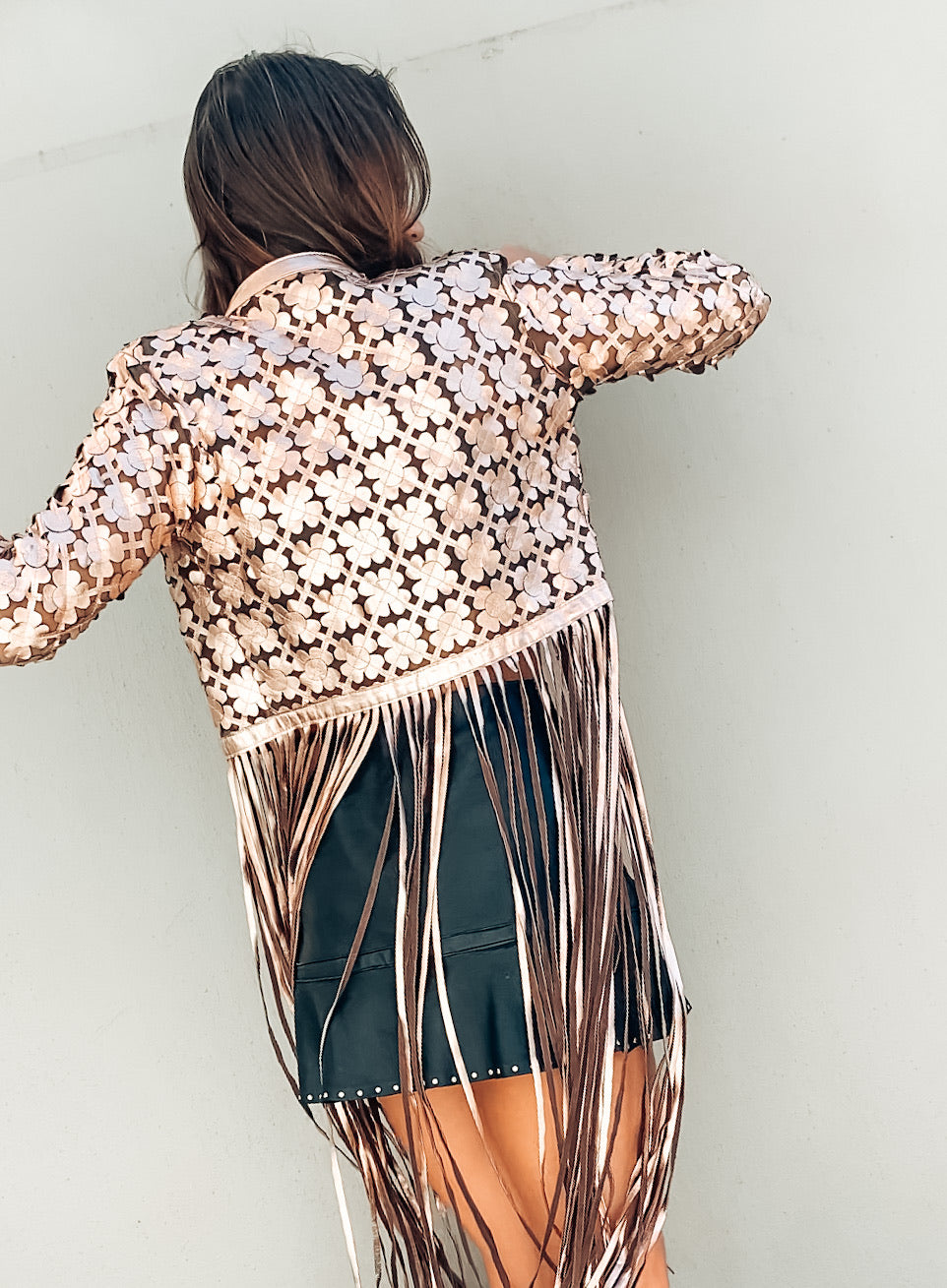 Bronze flower power fringes jacket