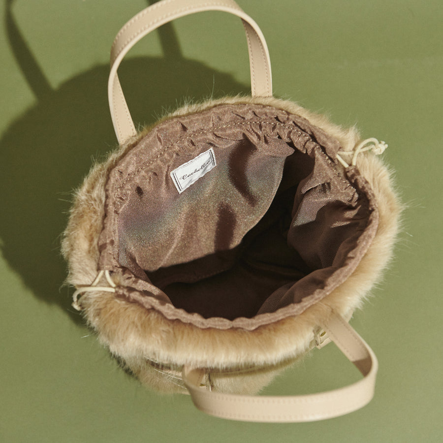 PU×FAKE FUR POUCH 2WAY TOTE