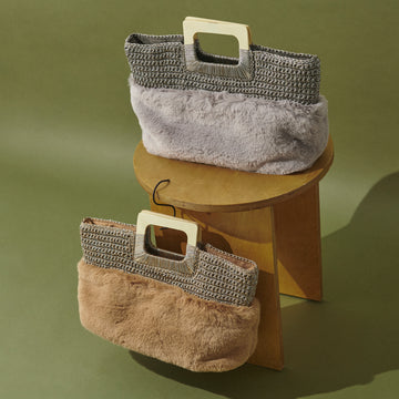 KNIT×FAKE FUR WOOD HANDLE TOTE