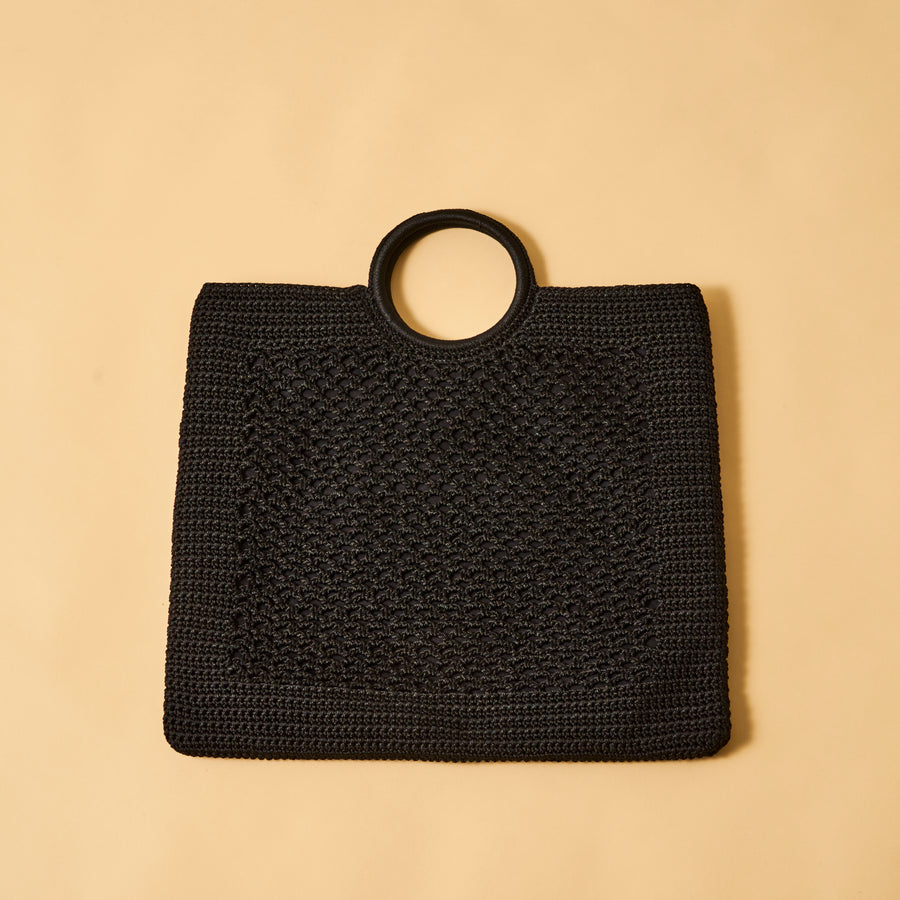 KNIT RING HANDLE TOTE