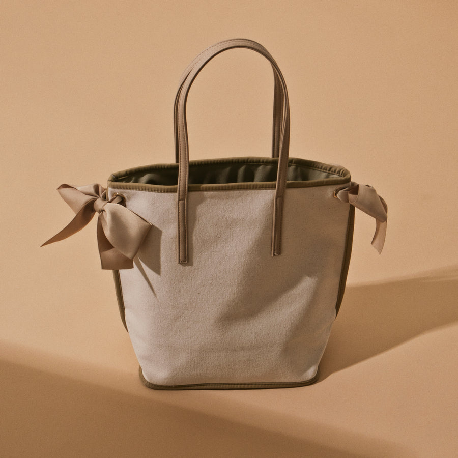 CANVAS RIBBON TOTE/M