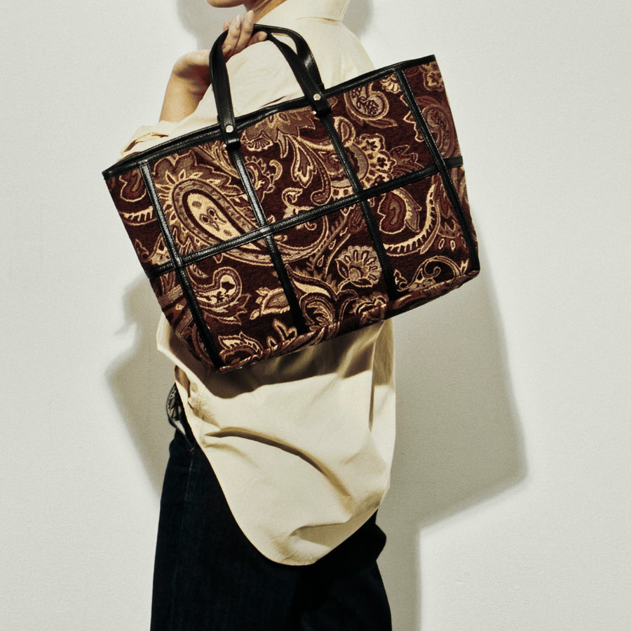 COW LEATHER×JACQUARD TOTE