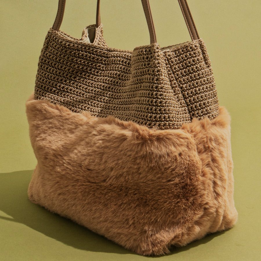 KNIT×FAKE FUR TOTE