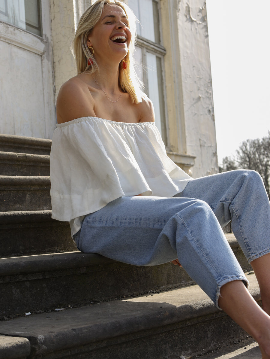 Off-Shoulder Linen Top