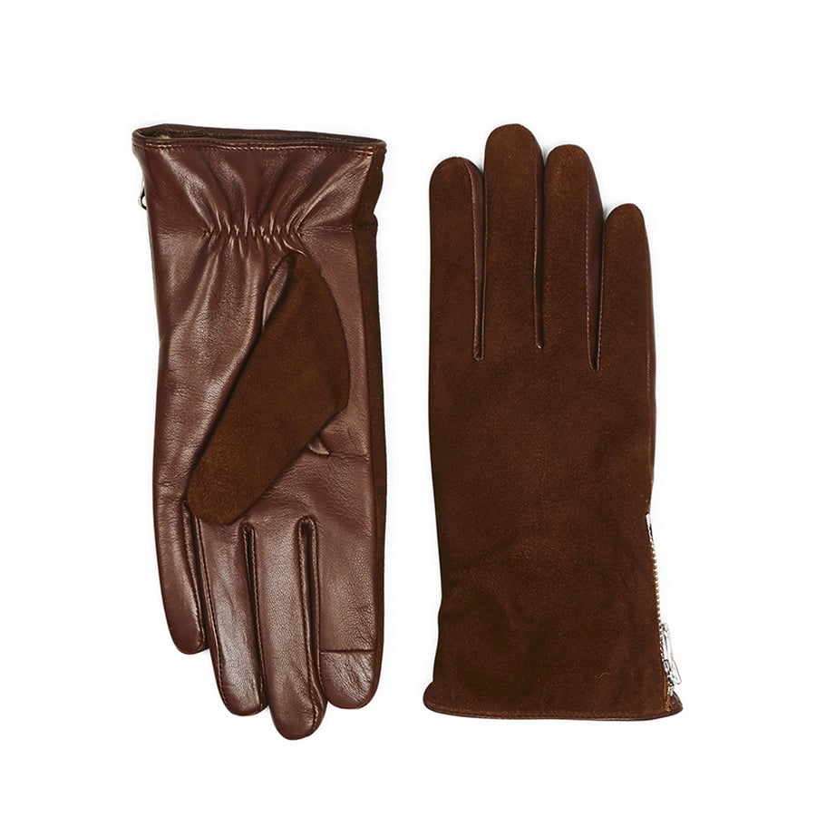 Suede Gloves With Zipper