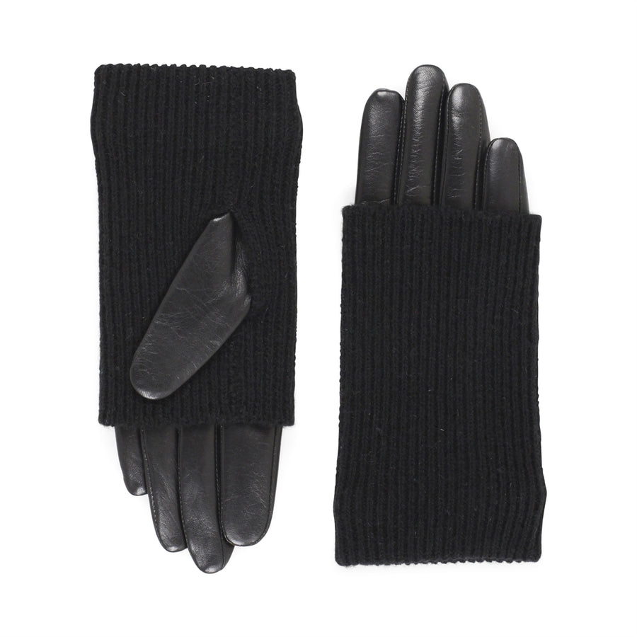 Knit And Leather Combi Gloves