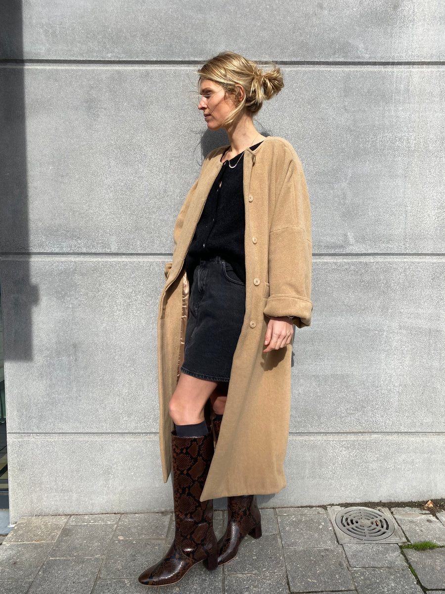 Padded Collarless Coat