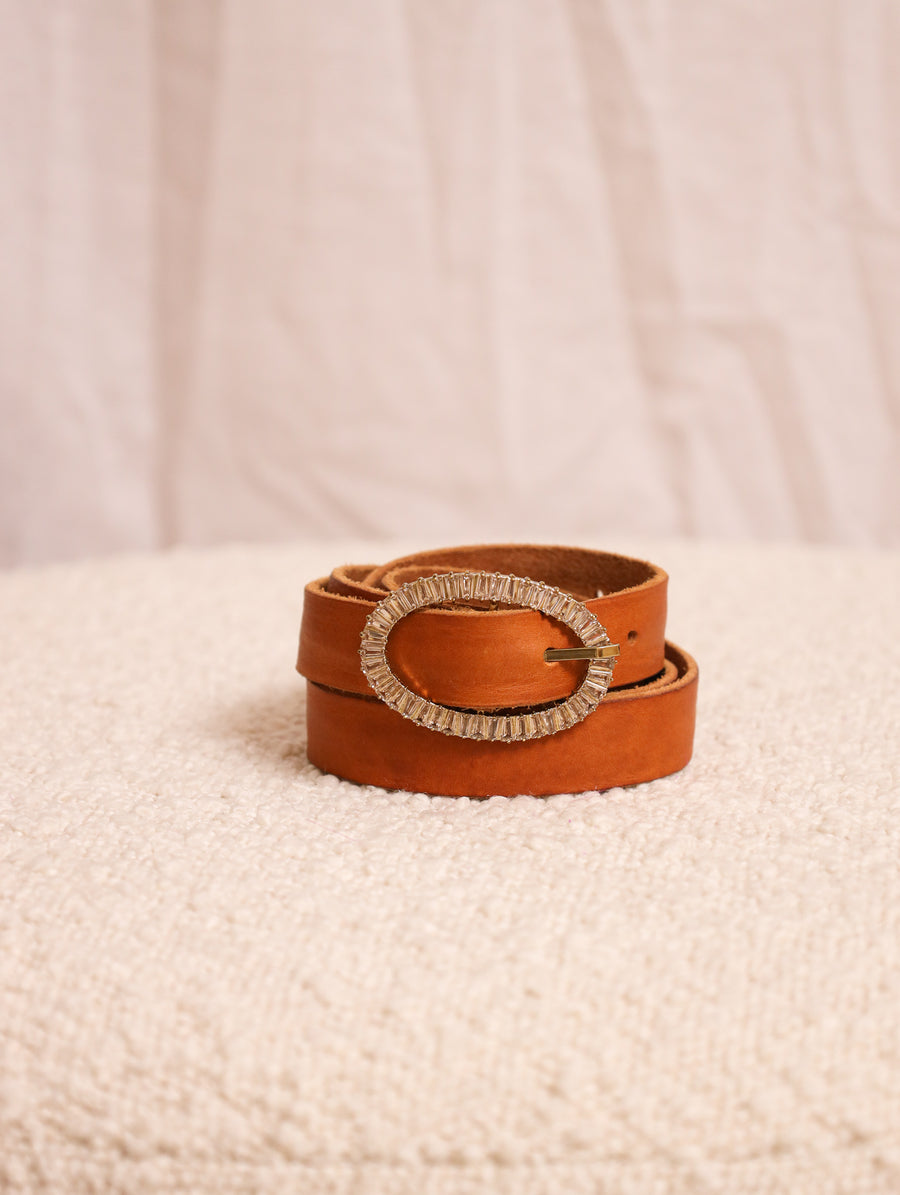 Leather Belt With Crystal Buckle