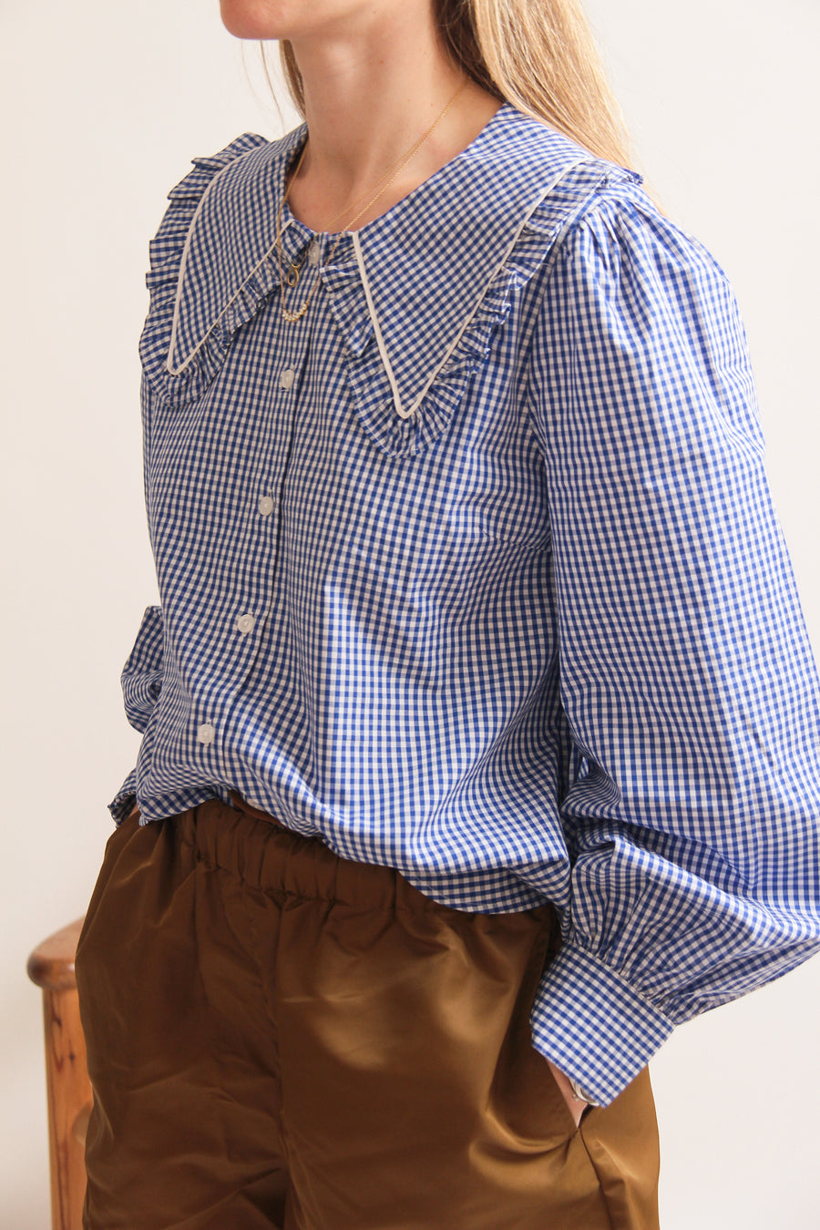 Checked Oversized Collar Shirt