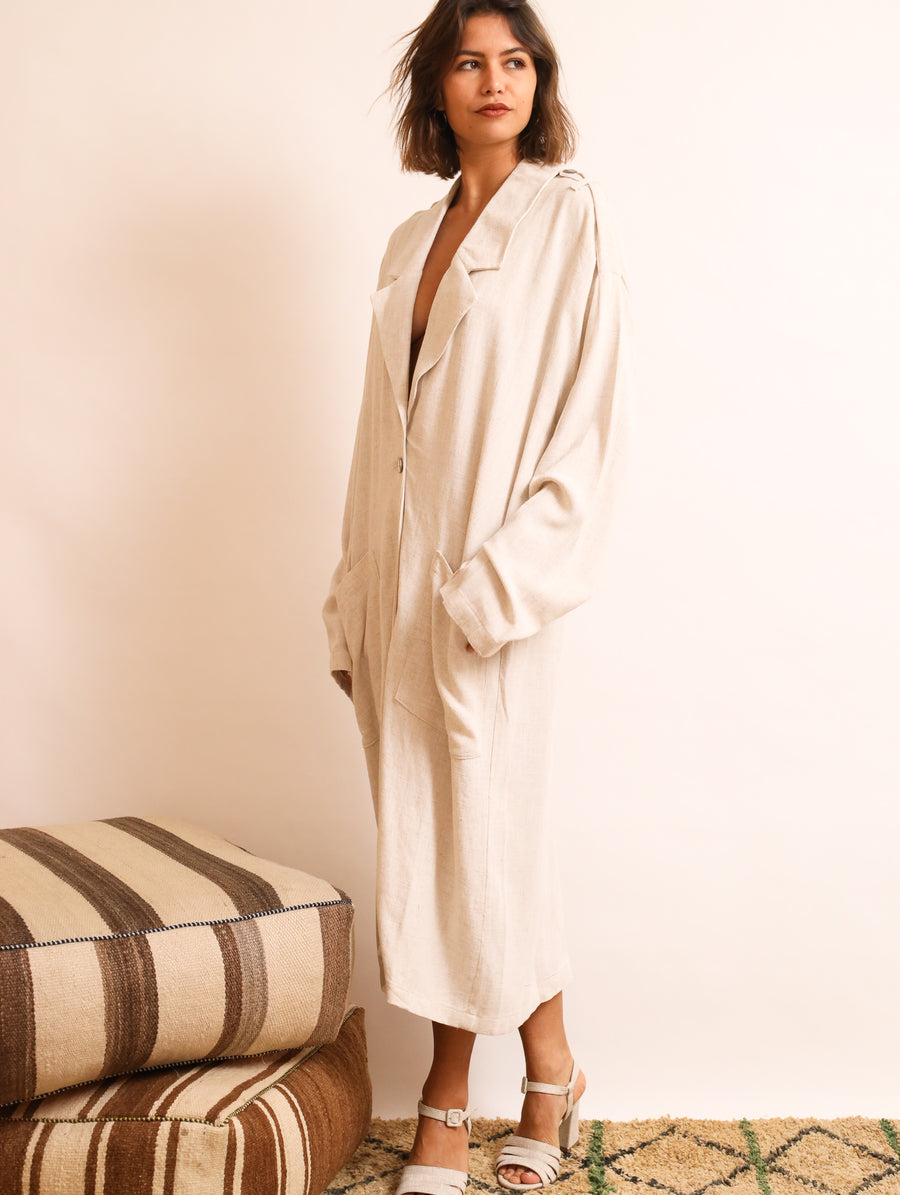 Linen-Blend Coat Dress