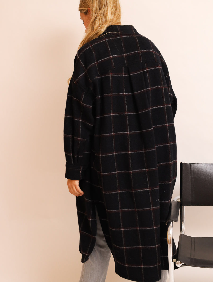 Checked Virgin Wool Coat