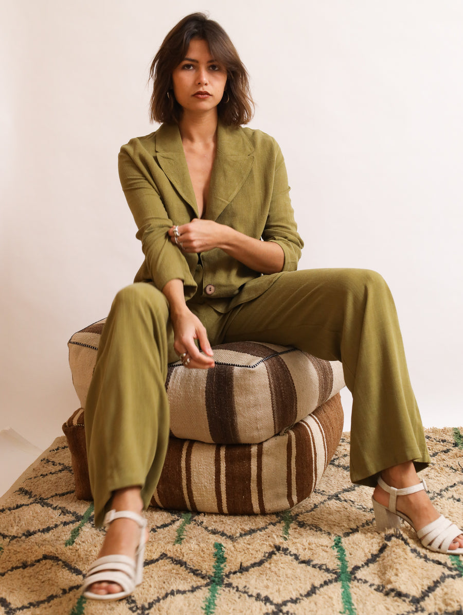 Linen-Blend Wide Trousers