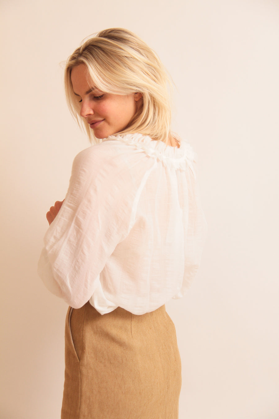 Ruched Cotton Blouse