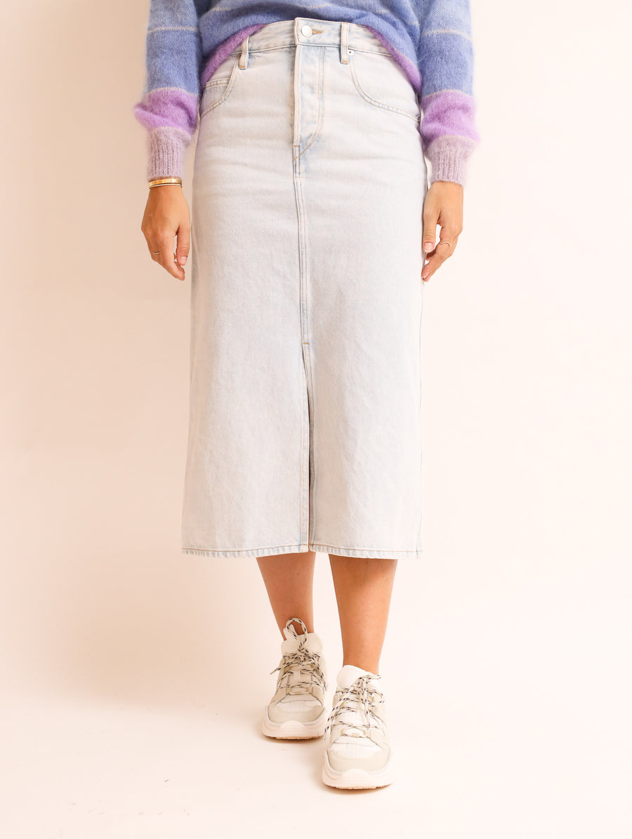 Denim Midi Skirt With Front Split