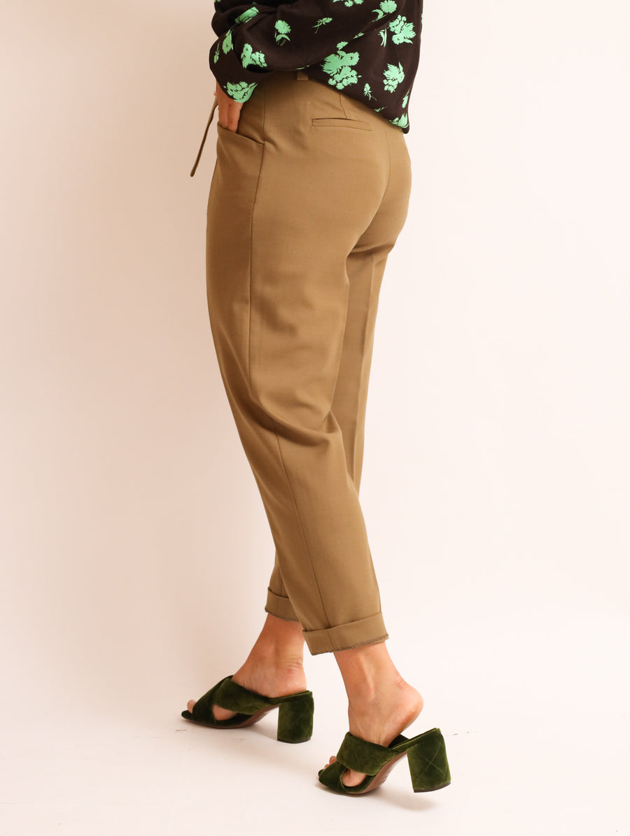 Tie-Belt Wool-Blend Pants