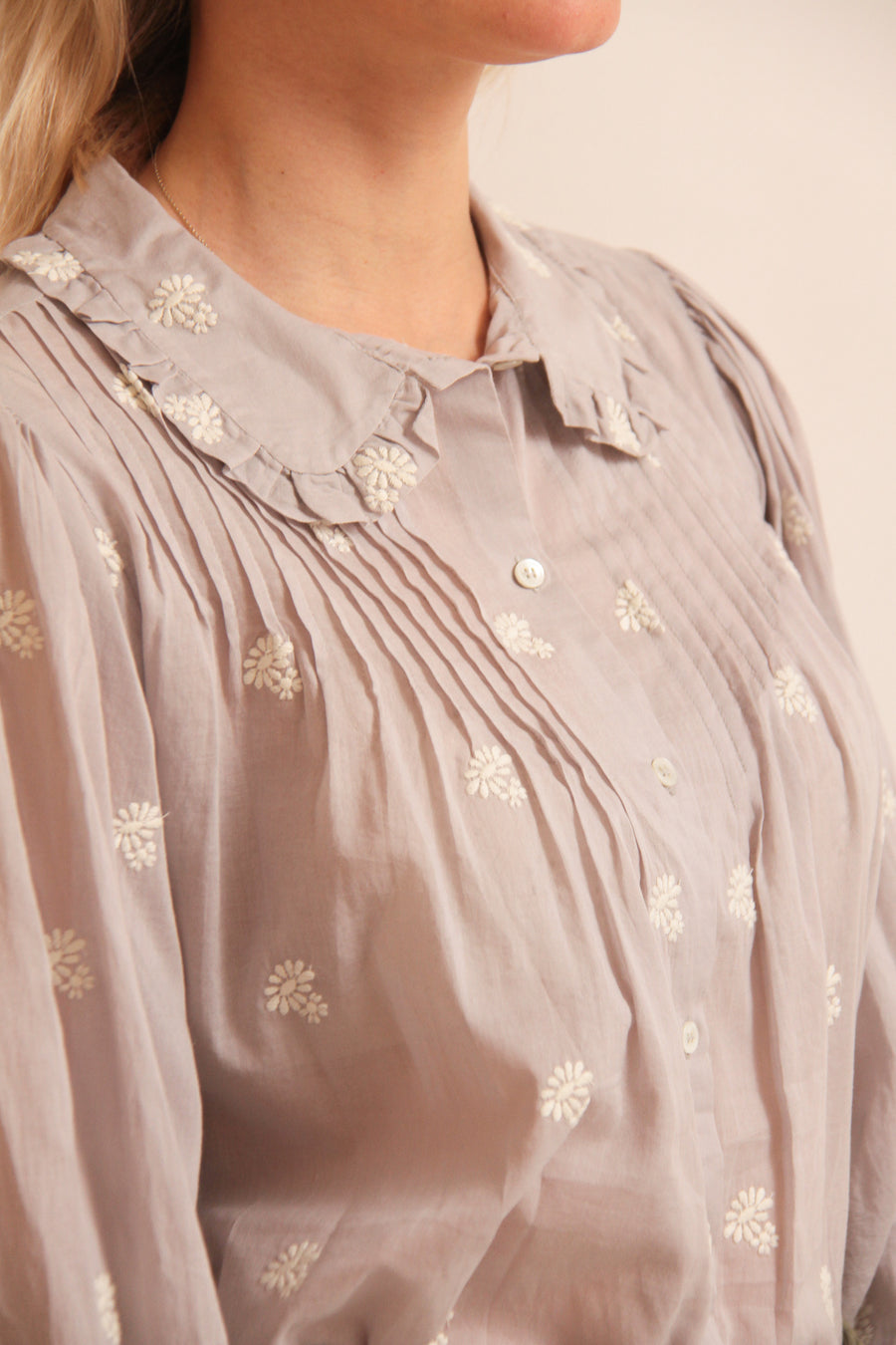 Oversized Collar Printed Shirt