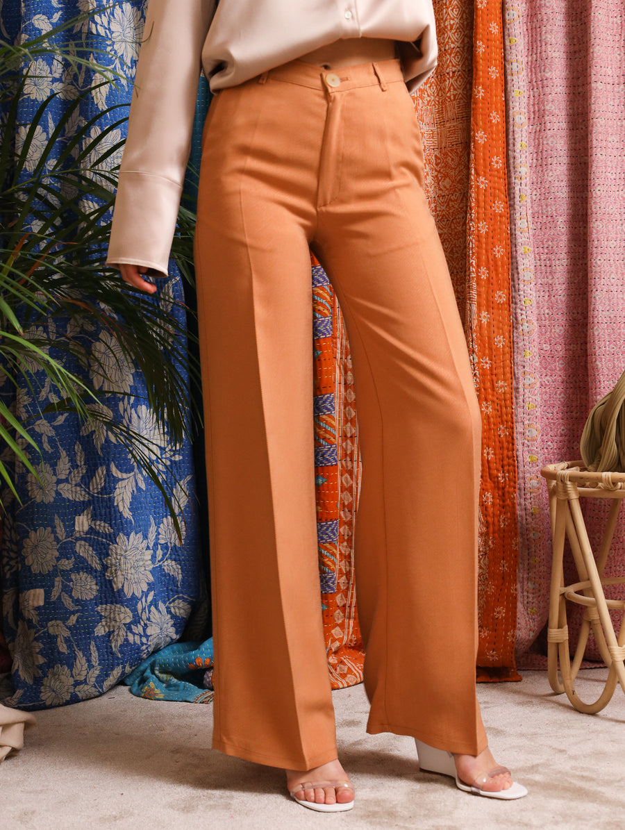 Washed Cupro Twill Wide Pants