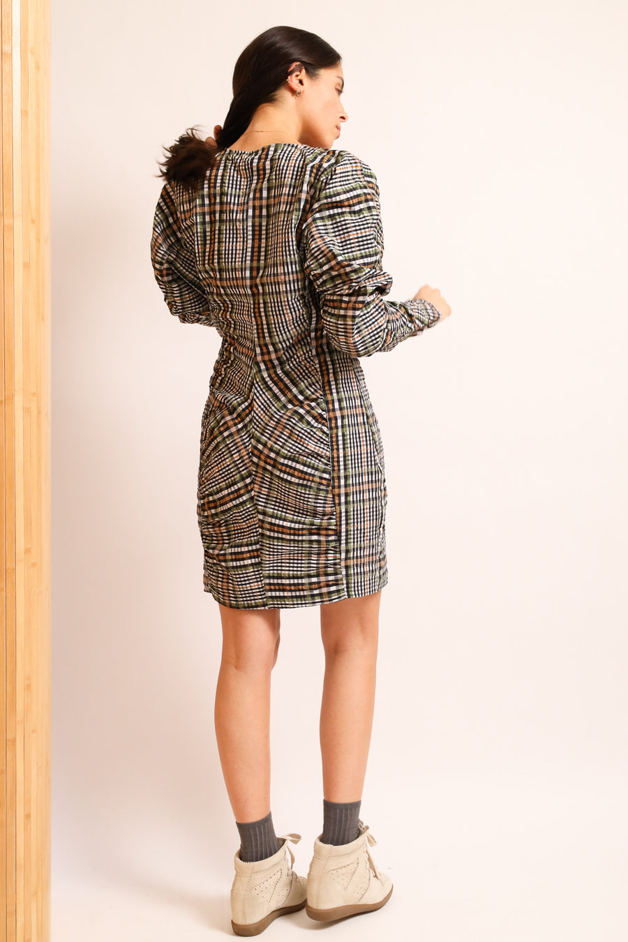 Fitted Checked Mini Dress