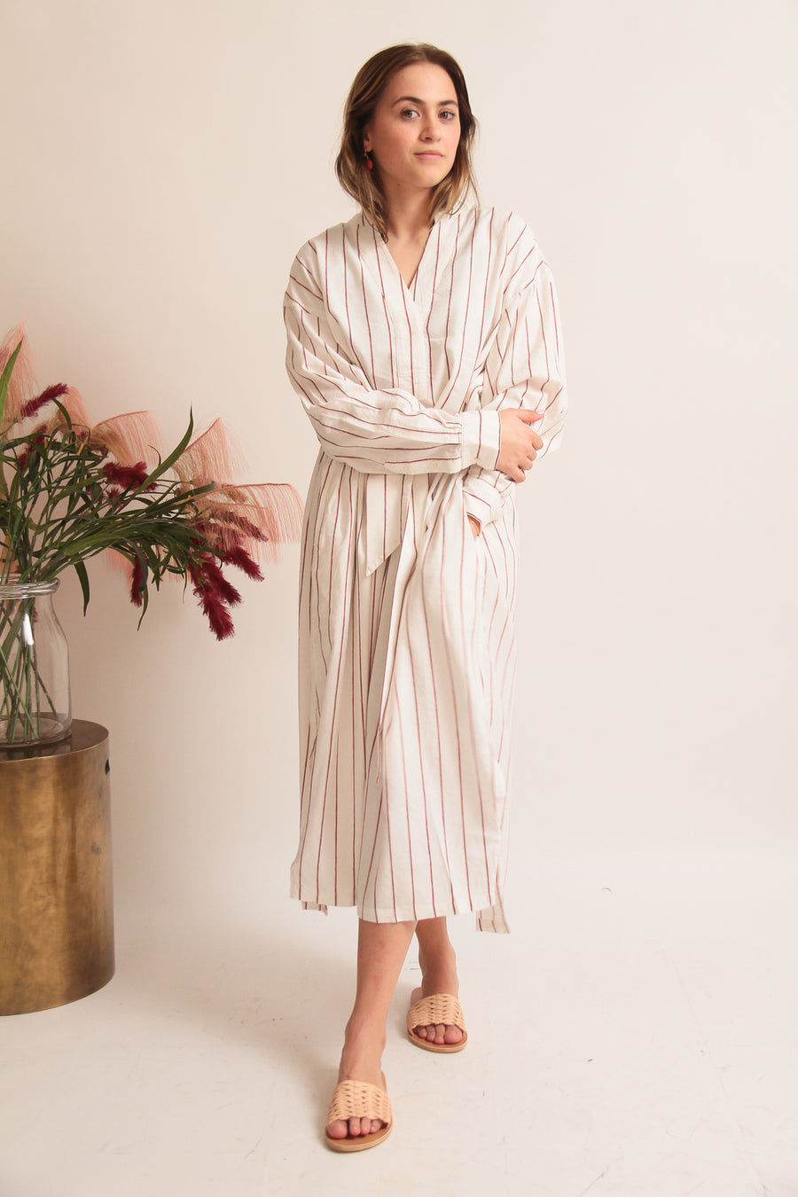 Fine Woven Striped Maxi Dress