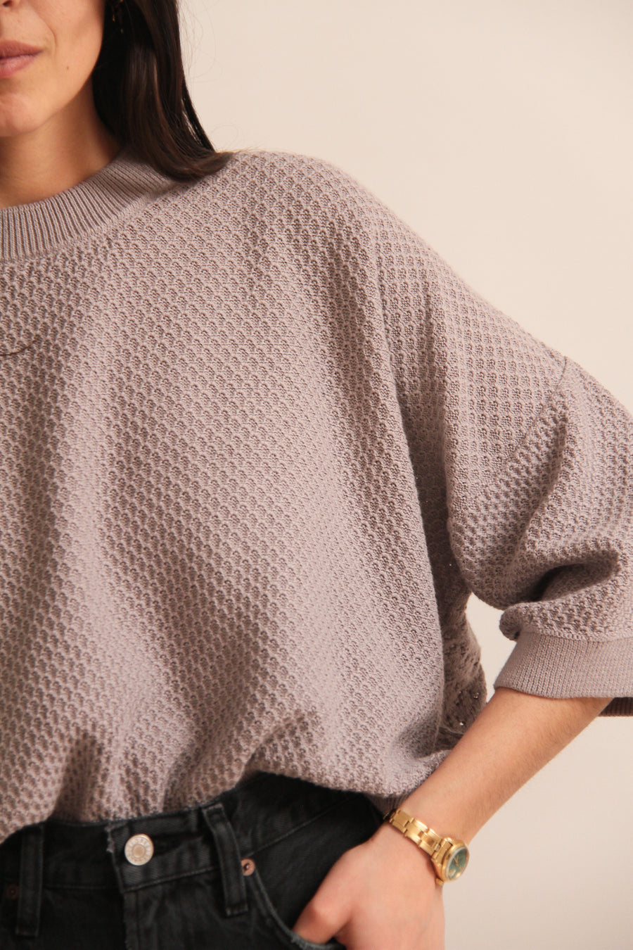 Cropped Cotton Knitted Jumper