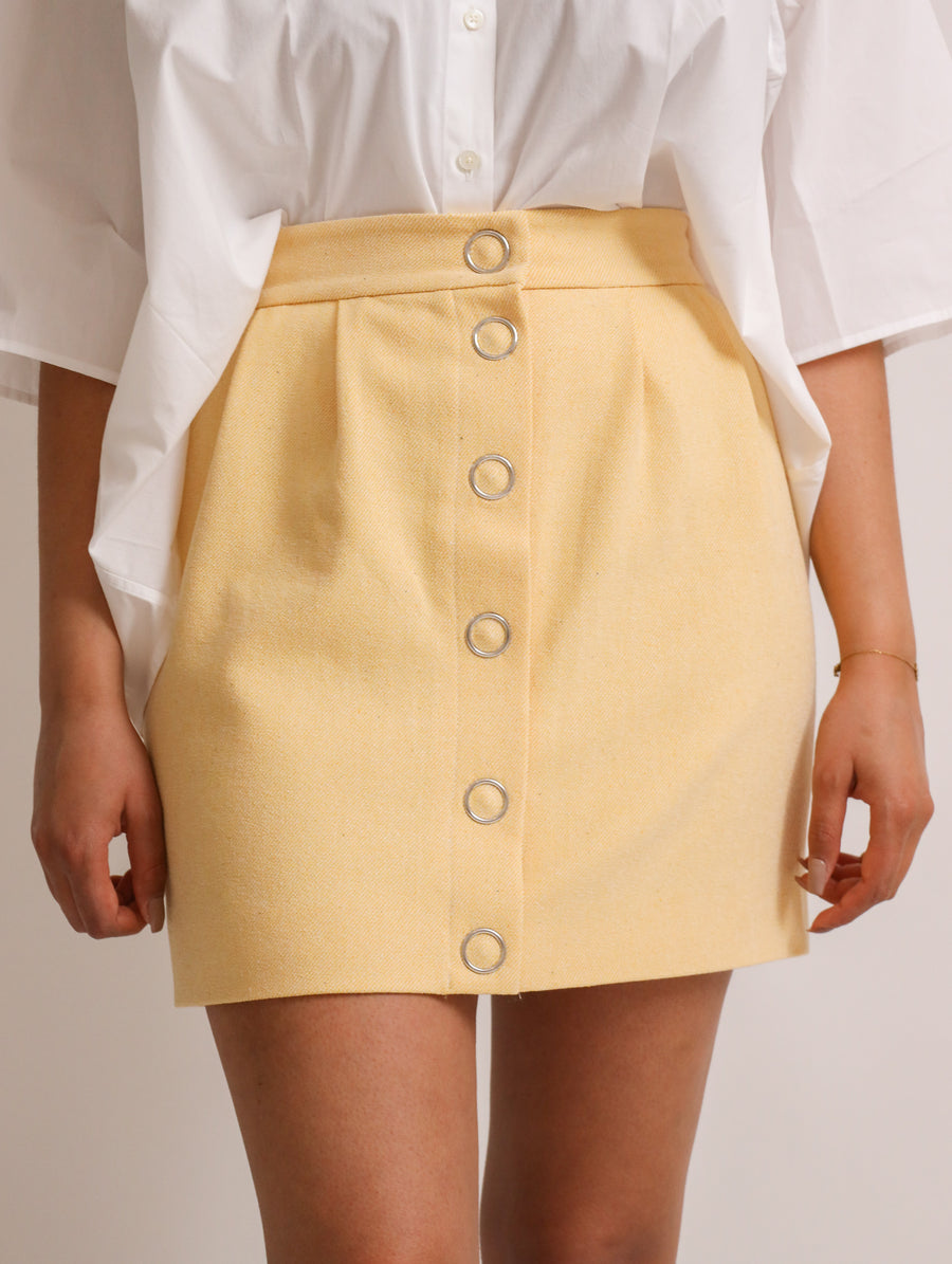 Button-Closure Mini-Skirt