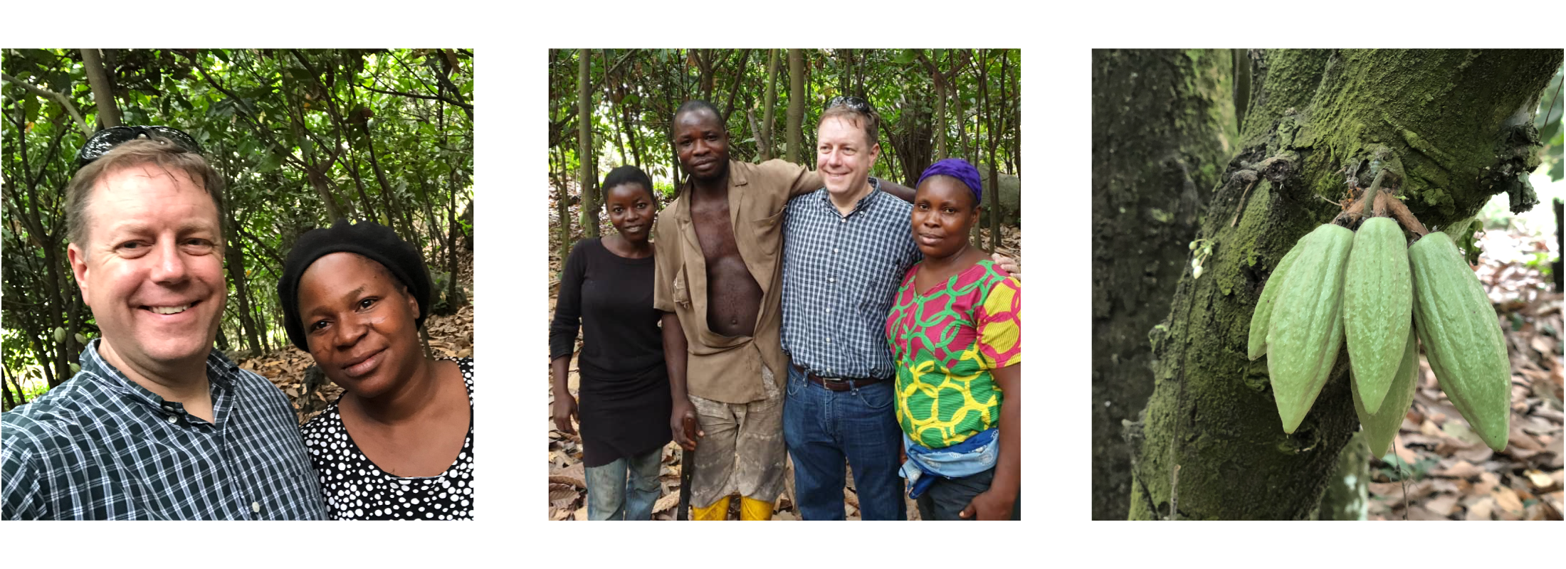 CEO Scott with cacao bean farmers