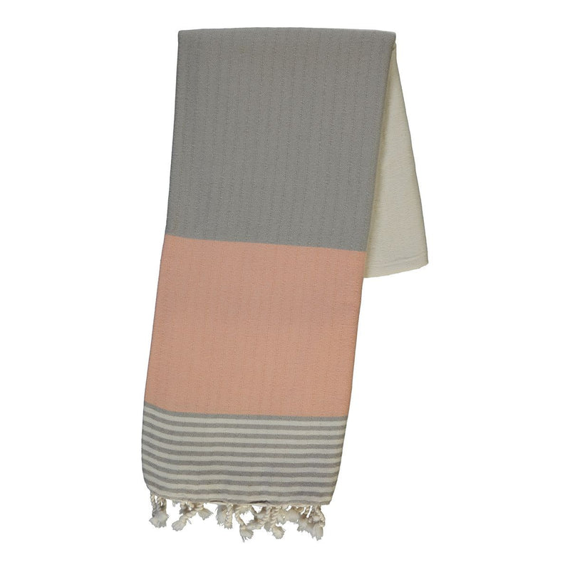 Beige/Melon Turkish Bath Cloth 100% Cotton (Hamam Peştemal İkiz Sultan - Kum Bej / Kavun %100 pamuk)