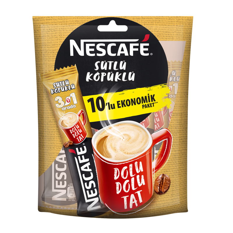 Nescafé 3 in 1 Milk Foam Coffee Pack of 10 (3'ü 1 Arada Sütlü Köpüklü 10'lu Paket) 10x17.4g